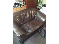 Brown Faux Leather Sofa Suite - 3 Seater Sofa + 2 Seater Sofa + Single Arm Chair - £30 ONO