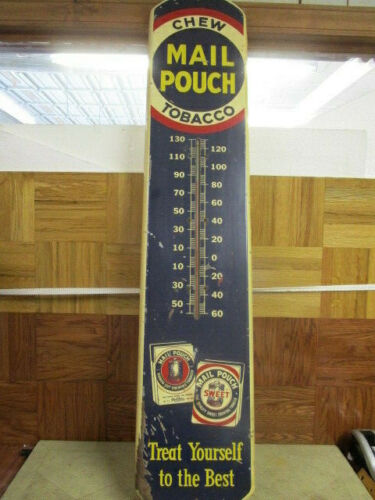 MAIL POUCH CHEW TOBACCO THERMOMETER W/DUAL LOGO SIGN