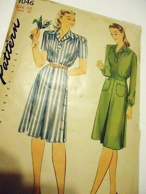 Vtg SIMPLICITY 40s PATTERN # 1046 size 12 side buttons WWII shirtwaist dress