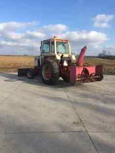 Case 870 Tractor, blower and front blade. London Ontario image 2