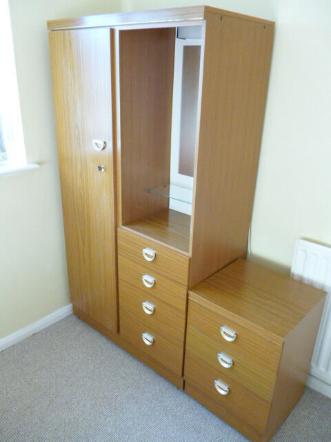 Albro Oak Effect Small Wardrobe With Mirror And Light Plus A Very Useful Matching Chest Of Drawers.