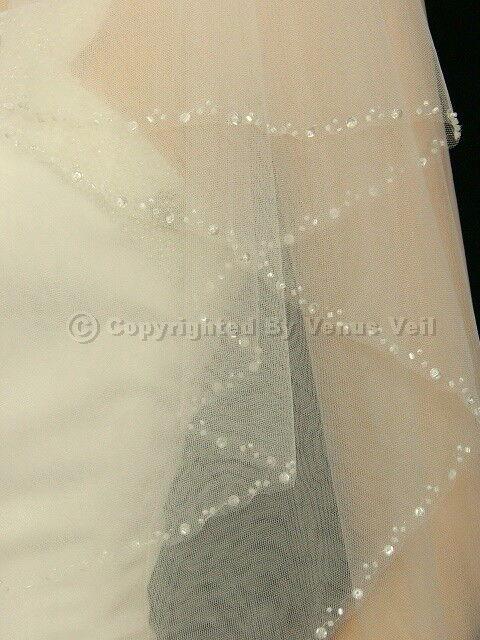 """2T Bridal Ivory Fingertip Length Beaded Edge 30"""" x 36""""  Wedding Veil"""