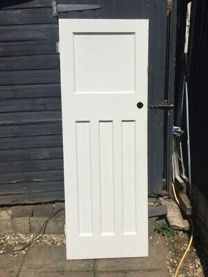 WHITE INTERNAL DOOR SECOND HAND HARDWOOD 70CM X 195 4 PANEL