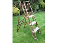 Antique Traditional 5 Tread Wooden Step Ladder