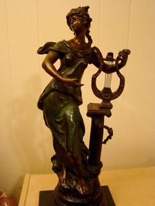 antique bronze statue fille a la harpe  de moreau