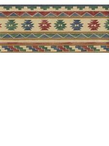Southwest Design in Blues, Greens, Red and tan WALLPAPER BORDER