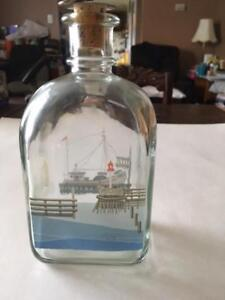 Empty Bottle with ship painted on