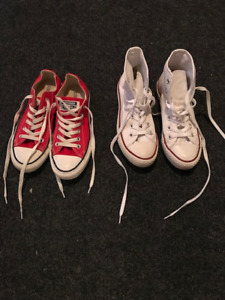 Converse Shoes - 2 Pairs size 7;red low cut and white high cut