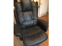 BLACK REAL LEATHER OFFICE/DESK ARMCHAIR, £190 AT OFFICEFURNITUREONLINE, VERY COMFORTABLE, REDUSED
