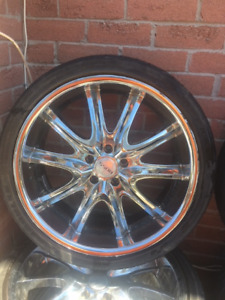 4 chrome 20 inch rims and tires