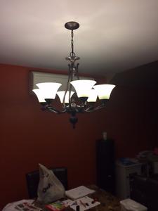 Luminaire suspendu 6 branches bronze
