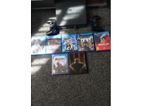 PS4 slim, 7 games, 2 controllers