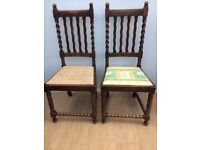 Pair of Classic solid oak barley twist hall/dining chairs.