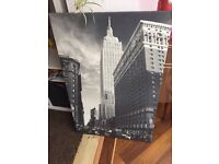 Large black & white canvas of Empire State Building, New York