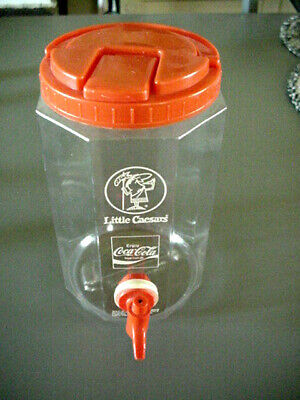 Vintage Coca Cola Little Caesars Clear Plastic Jug With Dispenser