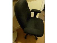 GRUGA USA Computer Home Office Adjustable Gas Lift Chair Black Fabric Upholstery