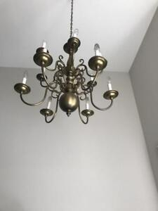 2 antique brass Chandeliers: 1 medium and 1 large