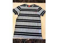 NEW Nike Stripe Black Grey Red Tshirt Modern Cool