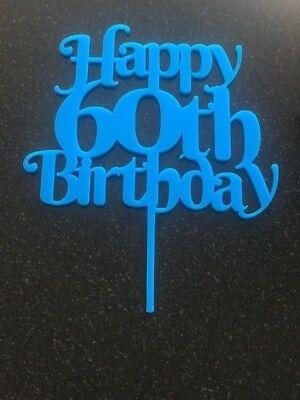 Happy 60th Birthday cake topper in light blue acrylic Happy Birthday celebration (Happy Birthday In Lights)