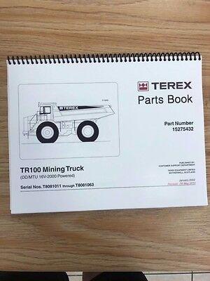 Terex Tr100 Mining Truck Parts Manual Book Sn T8081011 - T8081063