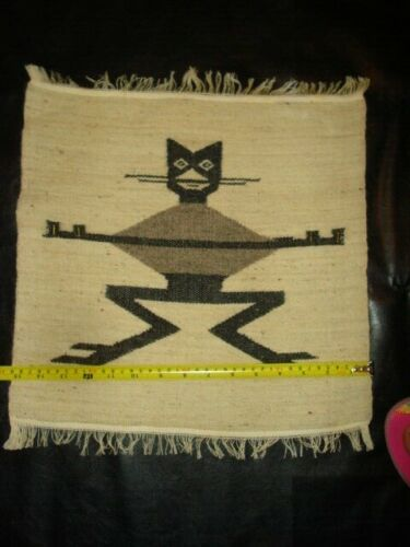 """Ecuador Vintage Wool Wall Hangings Tapestry 15""""x15"""" cat with metal accents"""