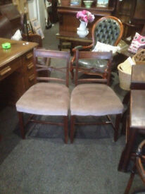 Nice Pair of Antique Regency Mahogany Carved Back Side/Parlour Chairs