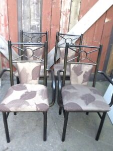6 DINNING TABLE CHAIRS All Metal 2 Captain Chairs