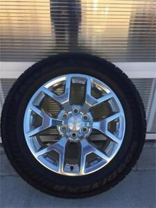"""20"""" Polished Aluminum Chevy Wheels with 275/55R20 Goodyear Tires"""
