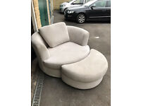 Dfs Cuddle/love chair with foot stool