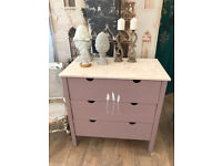 Shabby chic nursery chest of 3 drawers