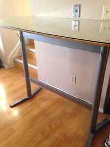 high table with glass top