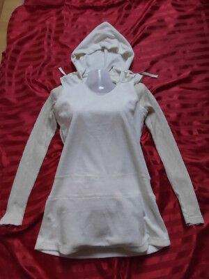 2 Teile Samt Nicki Tunika Hoodie Pullover Top Zipfel Kapuze Oberteil +LA Shirt S ()