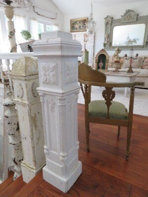 THE BEST OLD ARCHITECTURAL NEWEL POST COLUMN Ornate Detailing FLAT TOP White