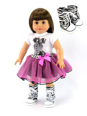 Isabella in Hot Pink & Zebra Striped Tutu 18'' doll  by American Fashion World