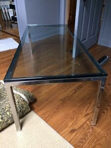 Rectangular Solid Chrome and Heavy Clear Glass Coffee Table