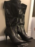 Town Shoes Black Italian Leather Boots