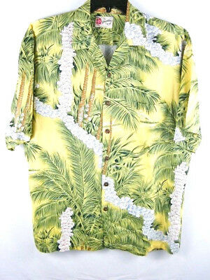 Hilo Hattie Hawaiian Leis & Flowers Palm Trees Rayon Shirt Men's Size Large L (Hawaiian Leis, Flower)