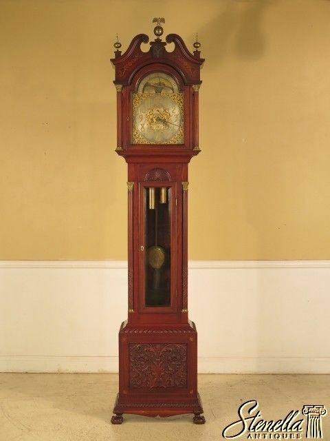 F29347EC: WALTHAM Antique Carved & Inlaid Mahogany Grandfather Clock