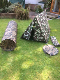 Child's Army Tent and Tunnel - vgc - £12