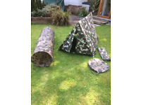 Child's Army Tent and Tunnel - vgc - £10