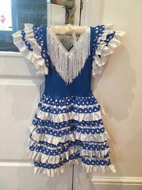 Spanish flamenco dress (blue and white) age 4