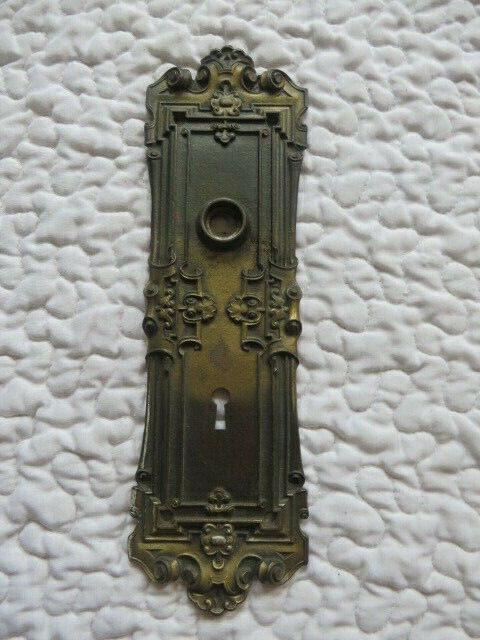 Vintage Antique Door Handle Plate Keyhole Brass Tone Filagree Decor Salvage Hard