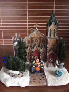 Décoration de Noël –Chapelle/Église en porcelaine illuminée.