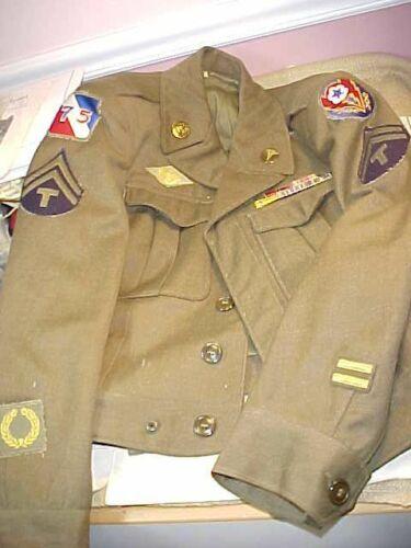 ORIGINAL WWII US ENLISTED IKE JACKET UNIFORM 75TH DIVISION - MEDICAL - ETO