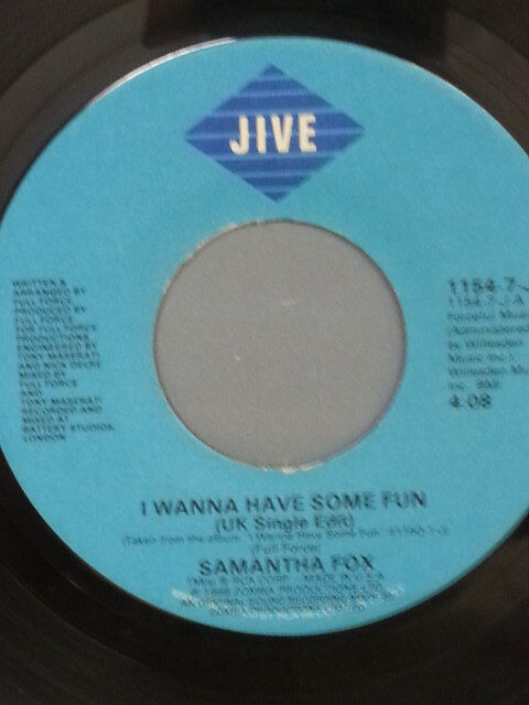 """SAMANTHA FOX 45 RPM """"I Wanna Have Some Fun"""" & """"Don't Cheat on Me"""" VG+ condition"""