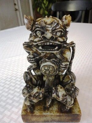 Shishi (lion/foo dog) Seal --- Very large --- Lion w/two cubs --- Esate Sale