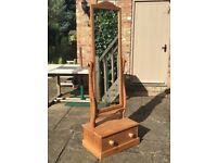 PINETUM STEWKLEY PINE TALL TILT DRESSING MIRROR ON DRAWER STAND £75.00