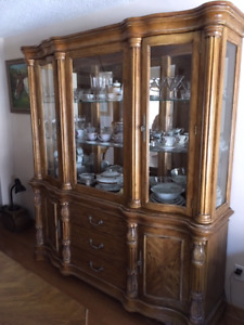 Solid Wood Dining Room Set with China Cabinet