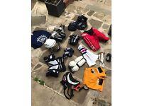 Boys ice hockey kit including skates and helmet