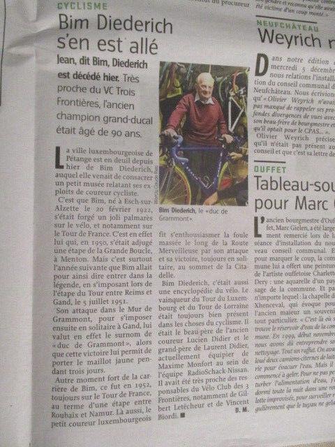 VELO : JOURNAL DU DECES DE : BIM DIEDERICH 07/12/2012 - ADL